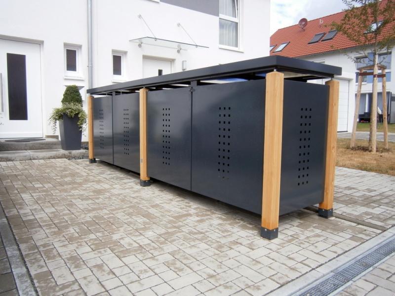 holz stahl fahrradgarage f r 2 fahrr der. Black Bedroom Furniture Sets. Home Design Ideas