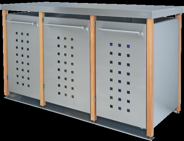 edelstahl m lltonnenbox mit gr ndach f r 3 m lltonnen 240 liter. Black Bedroom Furniture Sets. Home Design Ideas