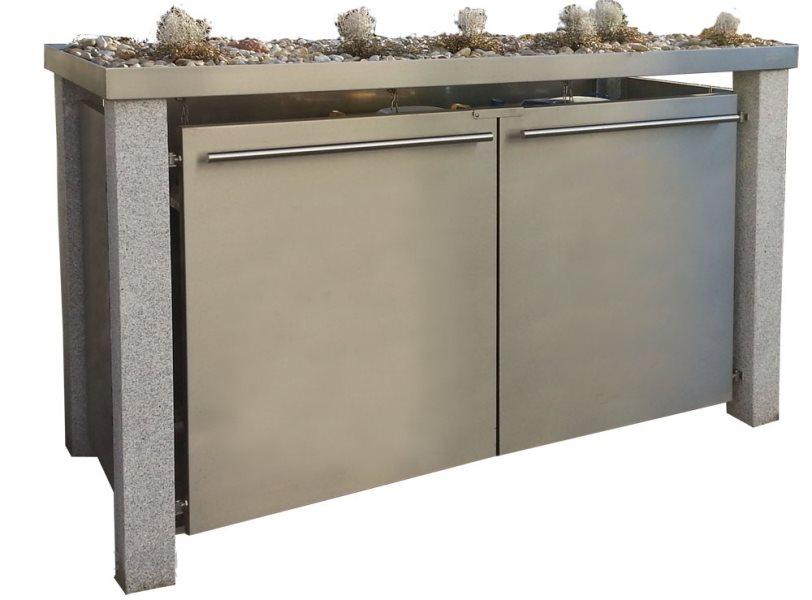 m lltonnenbox mit granitpfosten und gr ndach f r 3 m lltonnen 120 liter. Black Bedroom Furniture Sets. Home Design Ideas