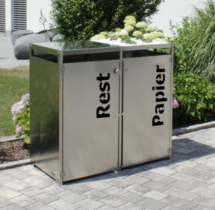 edelstahl m lltonnenbox mit gr ndach und t rbeschriftung f r 2 tonnen 2 x 120 liter oder 2 x 240. Black Bedroom Furniture Sets. Home Design Ideas
