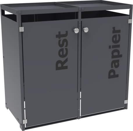 aluminium m lltonnenbox mit gr ndach und t rbeschriftung f r 2 tonnen 2 x 120 liter oder 2 x 240. Black Bedroom Furniture Sets. Home Design Ideas