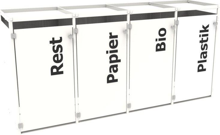 aluminium m lltonnenbox mit gr ndach und t rbeschriftung f r 4 tonnen 4 x 120 liter oder 4 x 240. Black Bedroom Furniture Sets. Home Design Ideas