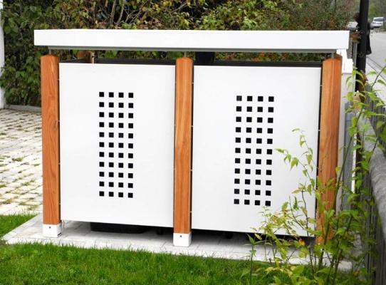 m lltonnenbox in stahlblech mit l rche f r zwei m lltonnen. Black Bedroom Furniture Sets. Home Design Ideas