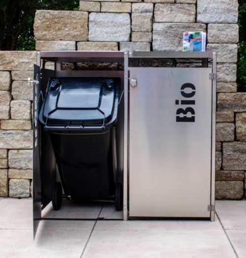 edelstahl m lltonnenbox mit gr ndach und t rbeschriftung f r 2 tonnen. Black Bedroom Furniture Sets. Home Design Ideas