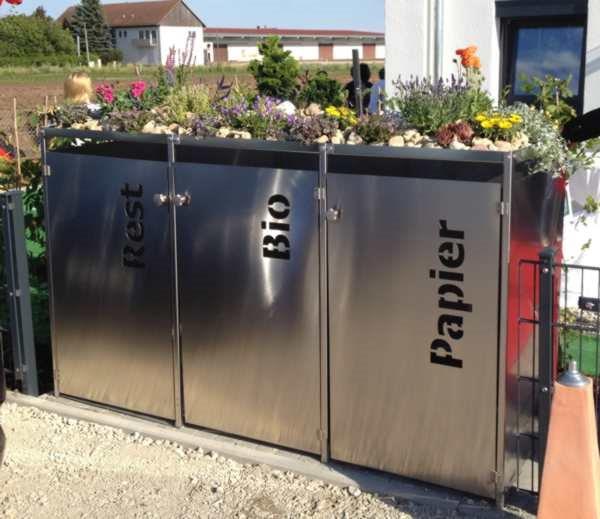 Extrem Mülltonnenbox Edelstahl mit Gründach und Türbeschriftung für 3 Tonnen MZ62