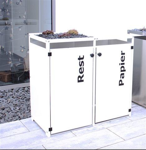 aluminium m lltonnenbox mit gr ndach und t rbeschriftung f r 4 tonnen. Black Bedroom Furniture Sets. Home Design Ideas